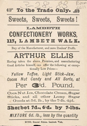 Advert for the Lambeth Confectionery Works